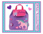 28 Fonts- Toddler UNICORN CASTLE Personalized Quilted Backpack- Small Preschool Book Bag or Diaper Bag Monogrammed FREE