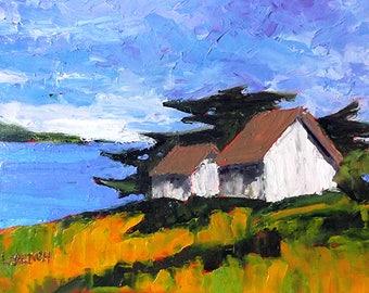 Impressionist California Plein Air Landscape Seascape North Coast Barns MONTEREY BAY Pacific Ocean Lynne French 12x16