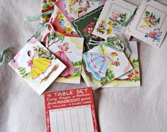 Vintage bridge tally cards, 16 tally cards, bridge cards, bridge scorecards, 50's tally cards, retro tally cards, retro scorecards