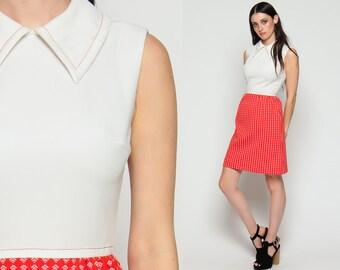 Mod Mini Dress 70s High Waist Boho Peter Pan Collar Geometric Print Vintage Sleeveless 1970s Bohemian Babydoll Orange White Extra Small xs