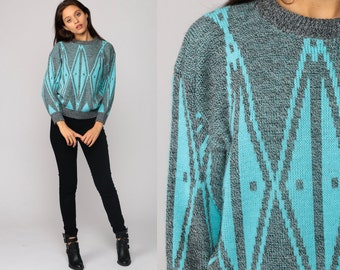 Geometric Sweater 80s Tribal Print Knit Jumper Grunge Hipster Statement Vintage Pullover Retro Grey Turquoise Blue Medium