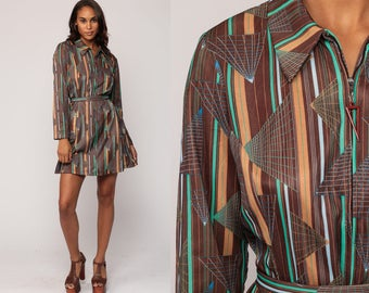 Mod Dress 70s Boho Dress Psychedelic Mini Striped Space Age Print Hippie Shift BELTED Vintage 1970s Twiggy Front Zip Brown Large
