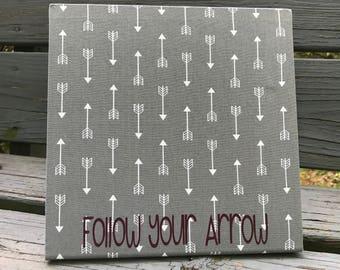 Follow Your Arrow, Magnetic Board, Graduation Gift, Desktop Organizer, Desk Accessory, Decorative Magnetic Board, Grey Arrow Fabric, New Job