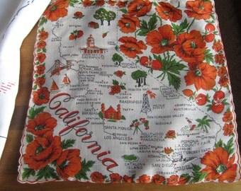 Vintage California State Hanky/Handkerchief 1950s Souvenir