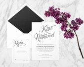 The 'Evelyn' Wedding Invitation; Romantic Invitation, Vintage Wedding, Rustic Invitation, Hand-Lettered, Calligraphy Invitation, Printable