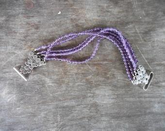 Vintage 5 Strand Amethyst Bead Bracelet w Pretty Floral Design Sterling Clasp