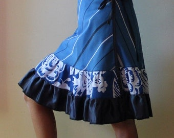 Knee length Wrap Skirt  in blues, ruffles  (one size fits most small - large)