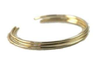 3 Simple Gold Cuffs, Smooth Stacking Bangles in Gold Fill, Layering Bracelets