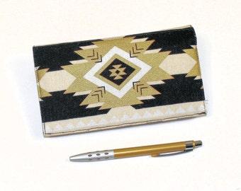 Checkbook Cover, Duplicate Checks, Pen Holder in Metallic Gold & Black Southwest Geometric Design, Elegant Art Deco Cotton Fabric
