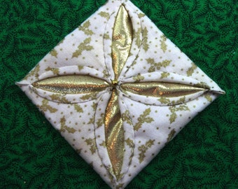 White and  Gold Cathedral Window Quilted Christmas Ornament 405