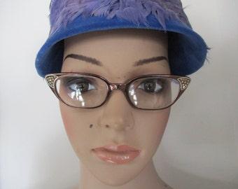 Cat Eye Rhinestone Aluminum Eyeglasses  Art Craft Glasses 50's Frames USA