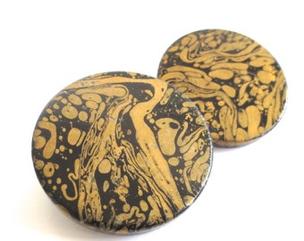 Vintage Marbled Black and Gold Oversized Clip on Earrings
