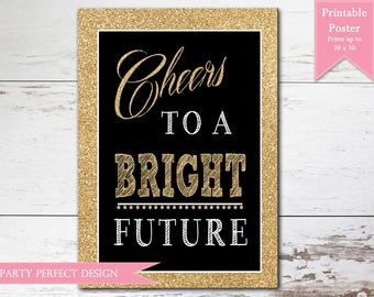 Graduation Printable Poster, Good Luck Poster, Bright Future Poster  - Print Your Own