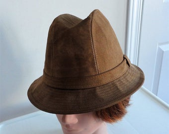 70s brown suedine men hat size small 6 7/8,  55 cm, 21 1/2  inches Authentic Styles