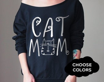 Cat Sweater Custom Off Shoulder Off Shoulder Sweater Cozy Comfy Sweater Cat Lover Sweatshirt Cats Sweatshirt Slouchy Sweatshirt Boho Sweater