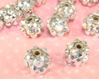 8mm Silver Rhinestone Beads 20pcs (42381) Acrylic Metallic Resin Bulk Jewelry Supplies for Friendship Bracelet Big Hoop Earrings Necklace