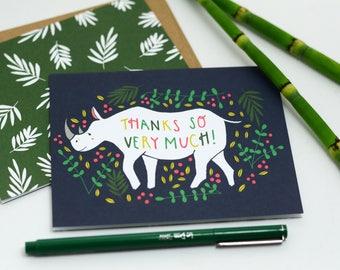 8 Thanks Rhino Cards, Rhino Card, Thanks So Much Card, Blank Rhino Card, Thank You Card, Thanks So Much Rhino Card