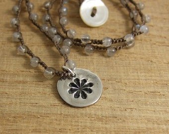Crocheted Necklace with Brown Cord, Labradorite Beads and a Pendant with a Snowflake Design SN-236