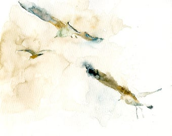 SEAGULLS Original watercolor painting 8x10inch