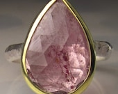 Pink Tourmaline Ring, Rose Cut Pink Tourmaline Ring, 18k Gold and Sterling Silver