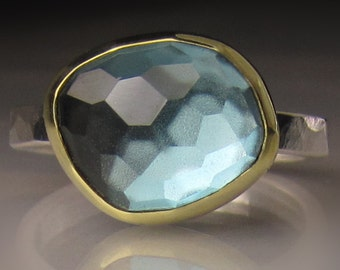 Rose Cut London Blue Topaz Ring - 18k Gold and Sterling Silver - Made to Order