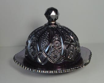 Indiana Amethyst Carnival  Glass Heirloom Series Butter Dish