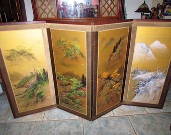 Vintage JAPANESE Handpainted 4 Seasons Screen Artist Signed