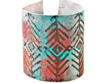 Leather Cuff Buckle Bracelet Tribal Native Turquoise & Red