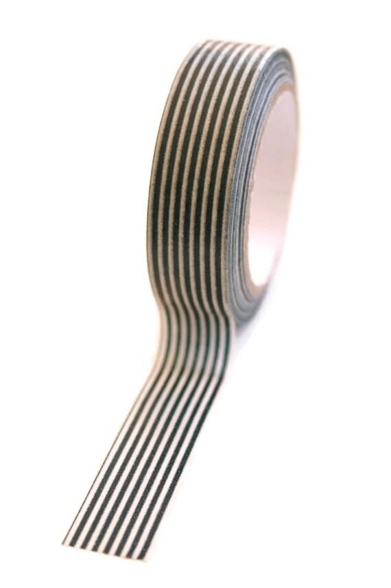 Washi Tape - 15mm - Black and White Vertical Stripe - Deco Paper Tape No. 115