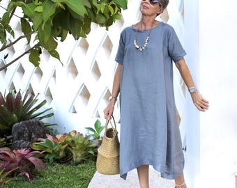 LINEN, Made Dress, Midi, Loose, Kimono Sleeves, Resort Wear, Bohemian, Island Style, Plus Size, Bali, Black, White, Gray, Natural, Gold
