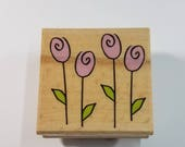 Row of Spring Flowers Tulips Garden Rubber Stamp Bible Journaling