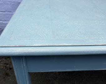 Embossed square coffee / side table in fusion mineral paint Champness blue with dark wax