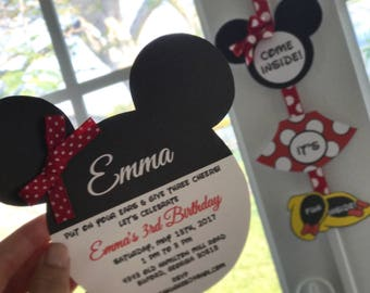 10 Mouse Ears inspired by Mickey and Minnie Birthday  Invitations by Palm Beach Polkadots