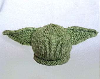 READY TO SHIP Knit Yoda Hat Cotton Baby Hat great photo prop