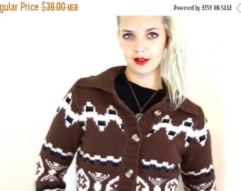 Spring SALE 25% Vintage Brown Angora Knit Cardigan Cream Geometric Pattern Lambswool Sweater Long Sleeve Button Down Big Collar Super Soft 9