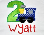 Birthday Boy Outfit - Personalized 2nd Birthday Train Appliqued T-shirt, Sizes 2T, 3T, & 4T
