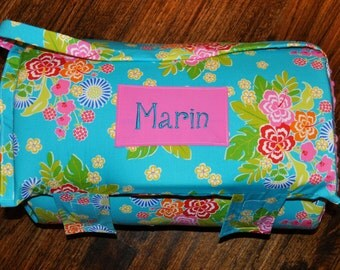 Nap Mat - Monogrammed Sanibel Hibiscus in Lagoon Nap Mat with a Pink Minky Dot Blanket