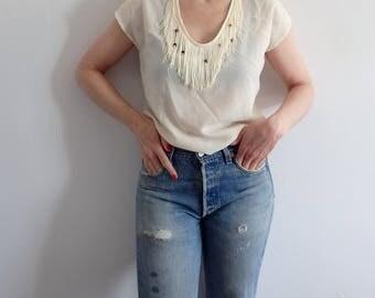 Tassel Shirt Vintage Short Sleeve
