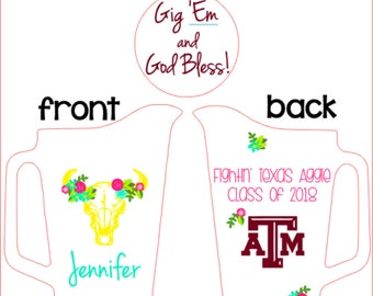 Aggie, ring, dunk, pitcher, custom, personalized, monogram, Texas A&M, beer, maroon, turquoise, pink, gold, flowers, cow skull