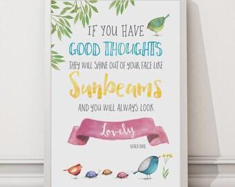 Roald Dahl - You Will Always Look Lovely Print