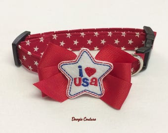 July 4th I Love USA Dog Collar Size XS through Large by Doogie Couture Pet Boutique