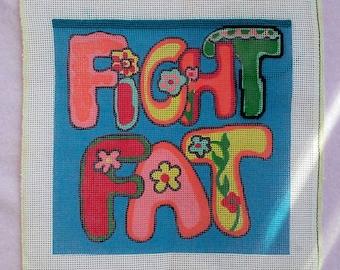 Vintage Needlepoint Canvas Fight Fat Motivational Retro Unfinished Craft NO YARN Little Pink Trailer