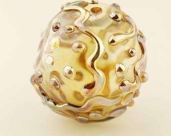 Hollow Lampwork Glass Bead, Large Focal,  Iridescent Gold
