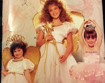 Butterick 4197 Girls COSTUME SEWING PATTERN Ballerina Princess 4 to 14 panty Tutu Star skirt Wings Wand fitted bodice gathered skirt ruffle