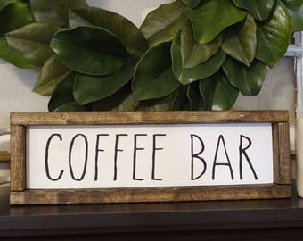 Coffee Bar Framed Wood Sign | Farmhouse Style, Rustic, Rae Dunn