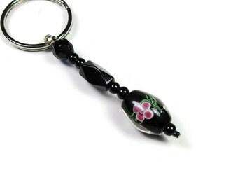 Keychain Fob, Black Czech Glass Bead Purse Charm,  Bag Charms, Beaded Keychain,  Gifts for Women,  Purse Jewelry, jewelrybyNaLa