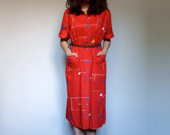 Vintage Shirt Dress with Pockets Women Button Up Dress 70s Red Dress Short Sleeve Summer Dress Shirtdress - Extra Large XL