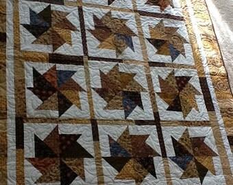 Civil War Spinning Stars Handmade Quilt