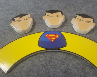 24 piece superman cupcake topper and wrapper. 2 inches round. Double sided