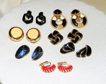 Set of Seven (7) Gold Style Clip On Earrings